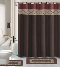 Dynasty Burgundy & Brown 15-Pc Bathroom Accessory Set 2 Bath Mats Shower Curtain