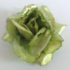 pince déco robe ou cheveux vintage fleur verte en tissus soyeux brillante