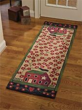 New Primitive Country Folk Art SALTBOX HOUSE CROW Wool Hooked Floor Runner Rug