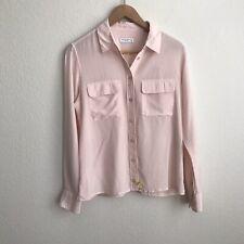 Equipment Femme Pink Silk Button Up Top Size Small FLAWED Womens