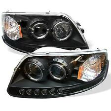 Pair Halo LED Projector Head Lights Lamps 1PC Ford F150 Expedition 97-2003 Black