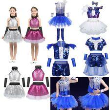 Kids Girls Modern Dance Outfit Costume Sequins Jazz Hip-hop Crop Top+Tutu Dress