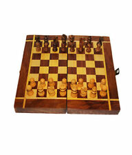 Wooden foldable Chess Board Box  8 x 8 inches With Wooden Coins Set
