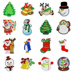 Christmas Embroidered Cloth Patch Iron On Sew On Xmas Applique DIY Santa Badge