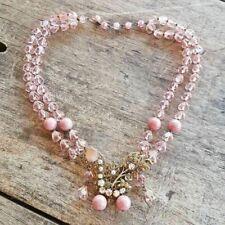 (127) Genuine Vintage Filigree Brass Pink Crystal Rhinestone Rhodanite Necklace
