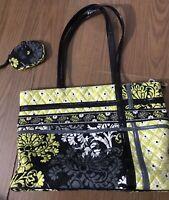 Vera Bradley Baroque Large Shoulder Bag Purse Handbag Tote & Matching Pouch GUC