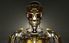 A4 Poster – Oro Y Plata Terminator Robot (imagen Cartel Robotics Arte Película)