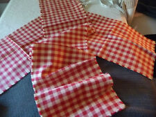 """#67N Red & White Checker table Runner 52"""" L x 10"""" W & 2 placemats 17 1/2"""" x11"""