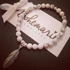 White howlite feather charm bracelet gemstone protection bijoux jewellery boho