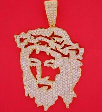 Mens Solid Yellow Gold VS Real Diamond Jesus Face Pendant Charm 13 Cts Video