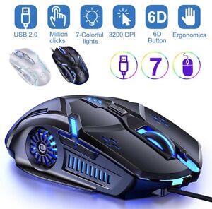 Gaming Mouse Cool LED Backlit USB Optical Ergonomic Gaming Mouse X6 3200 Dpi