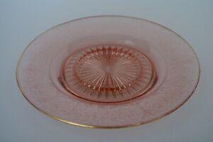 VINTAGE ART DECO PINK  ETCHED DEPRESSION GLASS SERVING PLATE  Anchor Hocking?