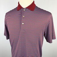 Peter Millar Summer Comfort Golf Polo Shirt Small Red Blue Striped Dri Fit S/S