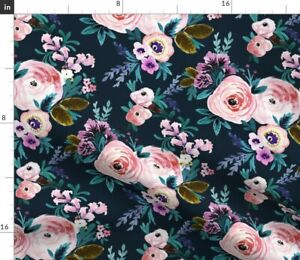 Floral Teal Baby Girl Roses Midnight Navy Wedding Spoonflower Fabric by the Yard