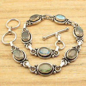 925 Silver Plated Blue Fired LABRADORITE Exciting Bracelet 8 Inch