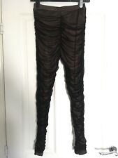 "BN Black Sheer Ruched Leggings Size M/L (UK Small / 8) Pale Pink Lining 26"" Leg"