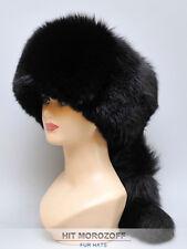 Davy Crockett Black Fox Fur Hat tail Schapka Pelzmütze Fellmütze Fuchs Mütze