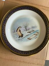 Lenox Boehm Woodland Wildlife Plate 1982 Otters~ Excellent in Box