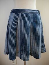 ACE & JIG blue white black striped linen cotton skirt size S