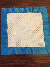 SWADDLE DESIGN BABY COTTON BLUE Dots SATIN SECURITY LOVEY BLANKET 14x14