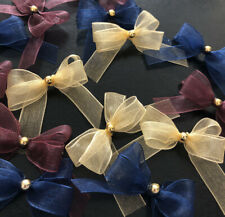 15 Small 3.5cm Plum , Turmeric & Navy Sheer Organza Bows With Gold Pearl Gem