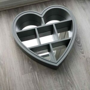 *NEW* Grey love Heart Shaped Mirror with Shelf Wall MountedHome Decor