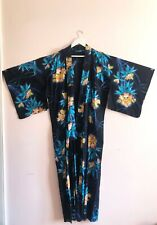 Vintage Cotton Blue Floral Print Japanese Kimono