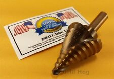 "Drill Hog 1/4""-1-3/8"" Step Drill Bit Cobalt M42 Reamer UNIBIT Lifetime Warranty"