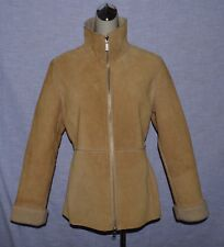 GUESS SZ M LIGHT BROWN BEIGE SUEDE LEATHER SHERPA LINED COAT JACKET