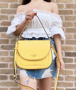 Kate Spade Leila Medium Flap Shoulder Bag Leather Sunflower Field Yellow