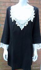 stunning shift dress ladies cream Lace collar cuff black 18 lovelabel LBD New