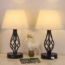 Set of 2 Traditional Table Beside Lamps 2 USB Charging...