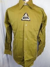 Vintage 50s 60s Olive Green Cotton Yale Dress Shirt Size SM AS NEW NEVER WORN