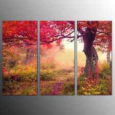 FRAMED Landscape Canvas Print Art Red Tree Wall Art Printed Canvas Painting-3pcs