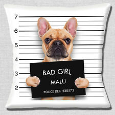 "Funny Fawn French Bulldog 16""x16"" 40cm Cushion Cover Jail Mug Shot Photo Print"