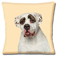 American Bulldog Funda De Cojín Blanco Marrón Moteado 40.6cm 40 cm
