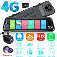 Android 8.1 Car Rearview Mirror DVR Dash Cam 4G WiFi GPS Recorder+ Camera 2+16GB