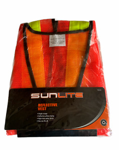 Sunlite Reflective Vest Bright Orange One Size Fits All Night Time Safety NEW