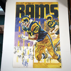 "Los Angeles Rams VTG 1973 Autographed By Players from Unknown Years 36""x24"""