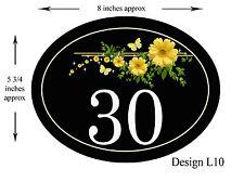 8 x 5 3/4 inch ALUMINIUM OVAL  Floral Design House,door,caravan Plaque/sign NEW
