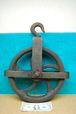 """12"""" Antique Industrial Pulley Wheel Crosby Laughlin Iron Foundry Ship Beth Steel"""