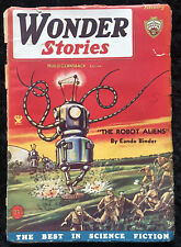 VINTAGE Wonder Stories February 1935 Sci-Fi Robot Alien Pulp - Frank Paul Cover