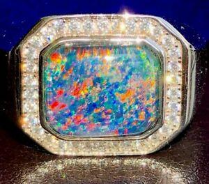 100% Natural Australian Black Red Opal Solid Men's ring 10 Sapphire Signet U