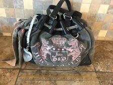 Juicy Couture Black And Grey Velour Shoulder Bag Purse