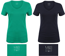 EX M&S T-SHIRT TOP BLOUSE TEE 100% COTTON NEW LADIES WOMENS V NECK LARGE SLEEVE