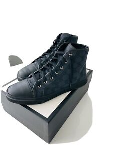 Gucci Monogram GG High Top Black Canvas Sneakers Trainers UK6.5