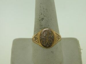 BEAUTIFUL 14KT YELLOW GOLD UNIQUE MONOGRAM RING SIZE 9