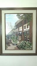 """Framed oil on canvas titled """"Del Bord Court"""" by Lucien, 1983, 31in. H x 25in. W"""
