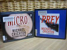 2 MICHAEL CRICHTON Unabridged CD Audiobooks MICRO & PREY