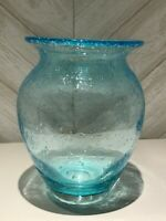 Vintage Art Glass Hand Blown Glass Aquamarine Blue Controlled Bubble Vase, A-295